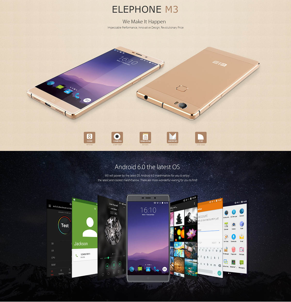 Elephone M3 okostelefon